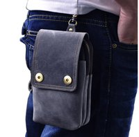 american sports works - KISSUN Factory Crazy Horse Leather Waist Bag Clip Belt Small Bag For Cellphone Camera Practical Carry Bag For Outdoor Sports Work