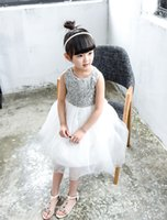 Wholesale baby girl dress clothes Summer New Girls Back Bow Lace Mesh Party Dress Kids Wedding Dress