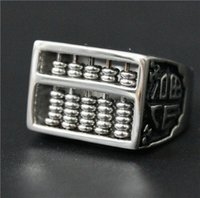 abacus china - Size Mens L Stainless Steel Jewelry Silver Abacus Ring Good Quality For Real Calculations Biker Ring