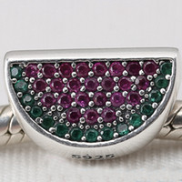 Cheap New 2016 Summer 925 Sterling Silver Pave Watermelon Charm Bead with Red & Green Cz Fits European Pandora Style Jewelry Bracelets & Necklace