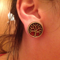 Wholesale 2016 mm mm Pair Wood Tree Of Life Double Flared Flesh Tunnel Ear Plugs Piercing Gauges Fashion Body Jewelry
