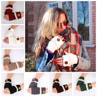 acrylic lace - Women Lace Button Fingerless Gloves Knitted Arm Warmer Soft Mittens Manual Knit Hand Sweater Gloves Fashion Lace Gloves Christmas Gift D60