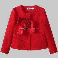 Wholesale Free DHL Fashion Girls Princess Coat Baby Rose Flower Outwear Kids Red Round Neck Coat Children Long Sleeve Party Coat GZ A133