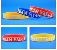 Wholesale 2016 New Poke Go Silicone Bracelet Pocket Monster valor mystic instinct team logo Wristbands Poke Ball Pikachu Bracelets game souvenir