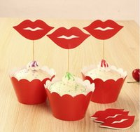 Wholesale 12pcs Wrappers Toppers for Kids Birthday Party Cup Cake Wrapper Red lips Party Supply CupCakes Toppers Picks