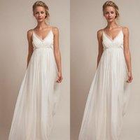 Wholesale 2016 Cheap Charming Empire Waist Beach Wedding Dress V Neck Spaghetti Straps Ruched Floor Length Bridal Gowns Under Custom Made