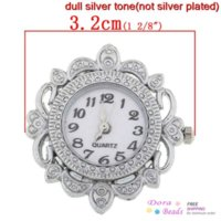 Wholesale Watches Face Fit Bracelet Necklace Flower Silver Plated Easy Read x3 cm B31010 necklace medallion necklace screw