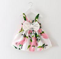 baby beach wear - Summer Baby Dress Girls Sleeveless Printed Dresses Suspernder Princess Dress Kids Clothes Children Beach Wear Lemon Fashion Colors