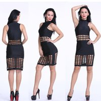 Wholesale Woman Sexy Black Perspective Dress Sleeveless Collar Hollow Stitching Step Waist Polyester One piece Skirt
