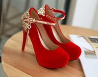 Wholesale Sexy Shoes Small Heels - Small big size34-42 black round toe thin sexy bridal Suede medium high heel shoes women pumps lady red platform wedding heels shoes