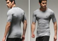 active apparel - Men s Apparel Fitness Clothing Male Elastic Sweat Absorption Tights Breathable Quick Dry T shirt Running Riding Training Clothes