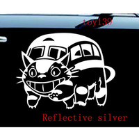 animal wall color - Ghibli Totoro Catbus Nekobus funny Car Truck SUV wall Vinyl Window Decal decals Sticker reflective silver