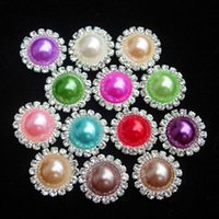 Wholesale 1Set50Pcs MM Bling Wedding Ivory Rhinestones Pearl Button Flatback DIY Buckle Hot Craft Jewelry Accessory Sewing Craft