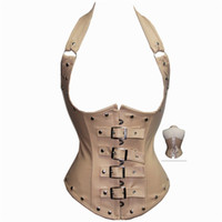 Wholesale Cheap Steampunk Corset - Wholesale-Faux Leather Corset Cheap Sexy Underbust Corsetto Steampunk Women Halter Tops Steel Boned Corset Gothic Clothing Yellow White