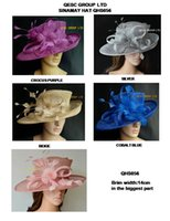 dress hats - NEW BIG Sinamay hat formal church dress Hat with feather flower for kentucky derby wedding races party