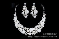 Wholesale Hot Selling Bridal Jewelry Pearl Crystal Necklace earring Set women wedding party Prom fashion Jewelry Set