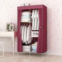 bamboo cabinets - Super simple wardrobe cloth cloth cabinet steel reinforcement steel special offer large folding single wardrobe