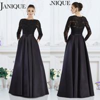 Wholesale 2016 Janique Mother off Bride Dresses Plus Size Long Sleeves Lace Satin Women s Wedding Party Evening Gowns Applique Beads Sexy Zipper Back