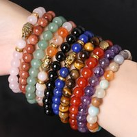 ancient buddha - Hot Sale mm Natural Stone Bracelet Stone Beads Mix Style Choose Elastic Rope Bracelet Ancient Gold Buddha Charm Bracelet