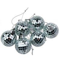 bars glaze - 6pcs Christmas Mirror Balls Set Different Sizes For Christmas Party Bar Decor Mirror Ball Laser Glass Decoration