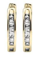 baguette diamond earrings - 4 CT NATURAL DIAMOND PINK TOURMALINE K GOLD EARRINGS10K Yellow Gold Invisible Set One Row Baguette Cut Diamond Hoop Earring ct