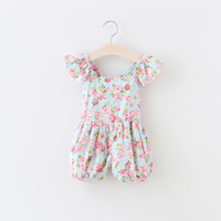 Cheap Summer babies romper clothes Baby girls ruffle fly sleeve romper kids floral plaid printed jumper children cotton Sweet Dazzel Pants A8580