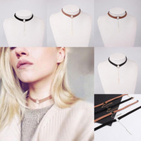 Wholesale Fashion Womens Suede Leather Circle Tattoo Choker Necklace Chain Pendant Charms Jewelry