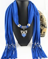 Wholesale Newest Cheap Fashion Women Valentine Scarf Direct Factory Resin Owl Pendant Tassels Scarves Women Rhinestones Owl Scarves Shawl