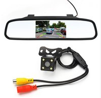 Wholesale 4 inch Car Rearview Mirror Monitor Rear View Camera CCD Video Auto Parking Assistance LED Night Vision Reversing Car styling