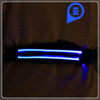 Wholesale Fashion black high capacity portable waist bags outdoor sports LED light emitting zipper can be made monochromatic or colorful light