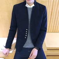 Wholesale 2016 spring New male casual jackets coat Korean simple style woolen full sleeve short overcoat stand collar men s clothes M XL