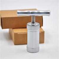 aluminum compressor - Aluminum T shaped Hard Metal Pollen Press Presser Compressor Herb Grinder Spice Crusher Grinder Hand Muller Silver