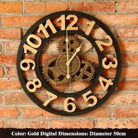 bell wall hanging - Retro Gear Bell Creative Home Decor Living Room Wall Clock Wall Bar Wall Hanging LOFT Creative Personality To Do The Old Bar Mural GJ02