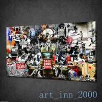 abstract collage paintings - Banksy Collage Montage New Modern Graffiti Art Canvas Print Wall Deco no framed x32