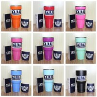 Wholesale 12 Colors Yeti Rambler Tumbler Cup oz Yeti Tumbler Power Coated Stainless Steel Double Wall Vacuum Insulated Cup Travel Mug IN STOCK