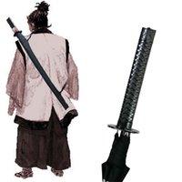 automatic closing umbrella - Black Samurai Sword Kantana Sunny Rainny Umbrella Ninja like Straight Long handle Anime Mt fuji Ribs Manual Open Close