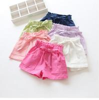 Wholesale Summer Children s Shorts new Girls ruffle high waist shorts pants kids pocket cotton linen short girls Candy color shorts pants BH2127