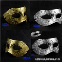 adult greek costumes - Hot colors Gold Silver Sexy Antique Roman Greek Fighter Men Mask Venetian Party Masquerade Halloween Christmas Costume Half Face Masks