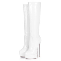 Venta al por mayor Sexy Trendy White patente PU rodilla botas para las mujeres con plataforma y 16 cm de tacón alto Mejor diseño italiano botas de rodilla hechos a mano