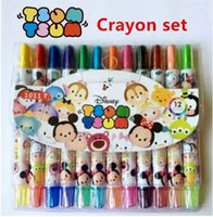 best painting supplies - 12 Set Small Size cm Tsum Tsum mickey Minnie colors rotating Crayon set students children painting supplies for best gifts