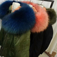 Wholesale 2017 flight jackets Lavish fur blue fur green coats Mr Mrs Italy Fur trimmed nylon bomber jacket with raccoon fur hood trim