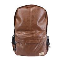 Wholesale Men Women PU Leather Vintage Backpack Fashion Leisure Male School Sport Black Day Brown Rucksack