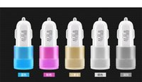 Wholesale Metal Dual USB Port Car Charger light up car adapter Universal use for Apple iPhone iPad iPod Samsung Galaxy Motorola Android Nokia HTC