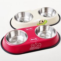 Wholesale Stainless Steel Dual Port Dog Bowl Dog Feeding Drinking Food Water Feeder Bowl Cat Food Container JJ0004