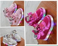 Wholesale EU Hot Sale Fashion Colors Children Shoes New Spring Hello Kitty Rhinestone led shoes kids Girls Princess Cute Shoes With Light