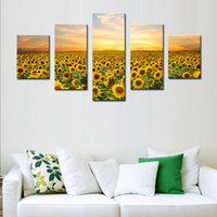 beautiful sunset pictures - LK582 Panel Yellow Orange Wall Art Painting Beautiful Yellow Sunflowers Colourful Sky Background Golden Sunset Pictures Prints On Canvas F