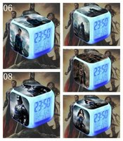 Wholesale 500PCS Digital Batman Hottoys HT BVS Movie LED Seven Colors Table Clocks Superman Night Light Alarm Clock LJJL138