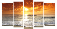 Wholesale LK564 Panels Large Sunset Beach Living Room Canvas Wall Art Pictures Prints Printing Decoration Unframed Natural Landscape Oil Painting Fa