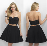 Wholesale Two Pieces Homecoming Dresses Sweetheart Neck Beaded Top Sexy Mini Skirt Black Simple Short Prom Dresses Cheap