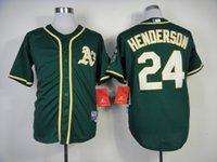 best oakland - Oakland Athletics Cool Base Mens Jerseys Rickey Henderson Green Baseball Jersey Accept Mixed Orders Best Quality Size M XXXL
